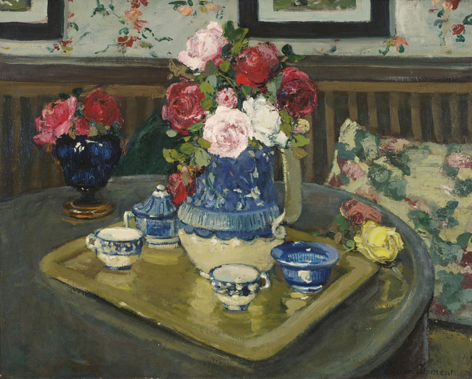 Still life with roses on table by Adrien-Louis Demont