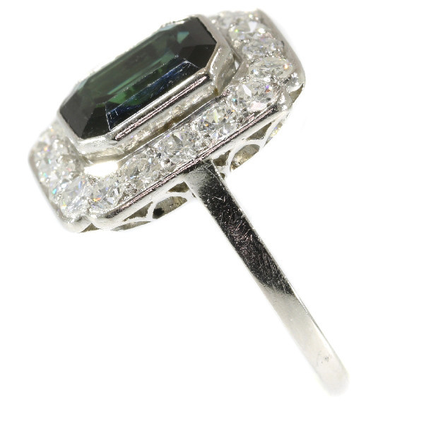 Platinum diamond and sapphire Art Deco style ring made in the Fifties by Unknown Artist