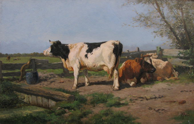 Cows in landscape by Gerardus Johannes Bos