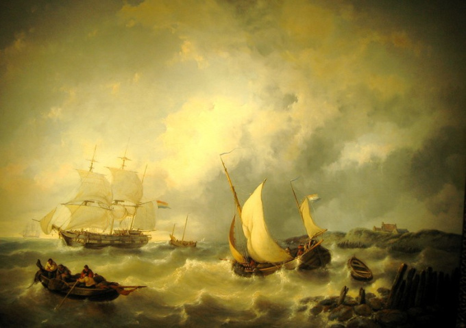 Ships on turbulent sea by George W. Opdenhoff
