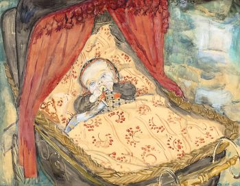 Baby in de wieg, Staphorst by Jan Sluijters