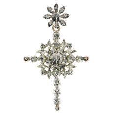 Antique Flemish cross with rose cut diamonds by Unknown Artist
