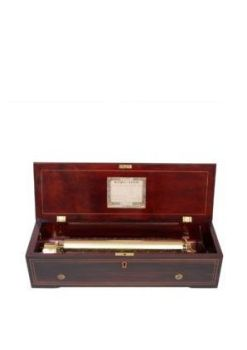 A fine Swiss Nicole Frères marquetry rosewood cylinder music box with eight airs, circa 1855 by Nicole Frères Geneve