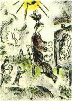"""Plate 16 (""""Celui qui les les sans rien dire"""") by Marc Chagall"""