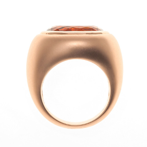 Oval citrine matte ring by Unknown Artist