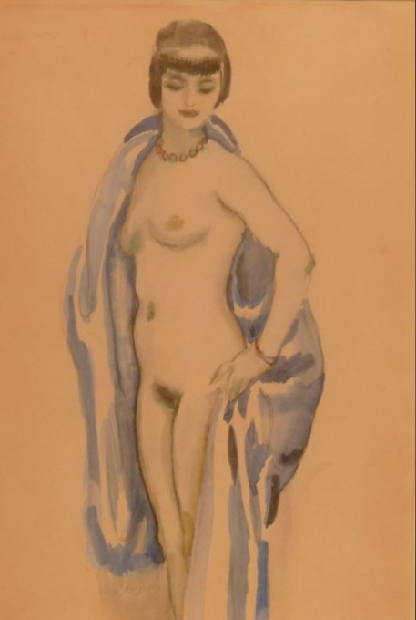 Standing nude with a blue veil by Jan Sluijters