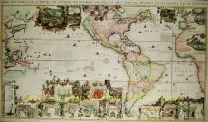 Rare Historical Map of North and South America  by Chatelain, Henri Abraham