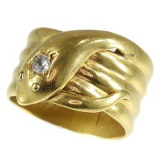 Antique gold English coiled snake ring with old brilliant cut diamond (ca. 1893) by Unknown