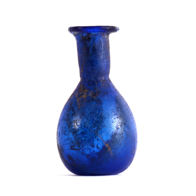 A group of 3 Roman blue glass unguentaria by Unknown Artist
