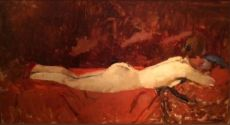 Lying Nude on Red Bedspread by George Hendrik Breitner