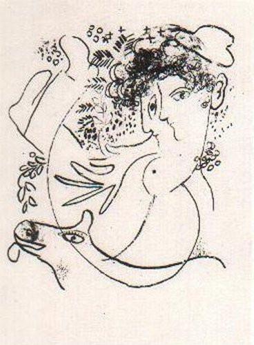 Les Deux Profils by Marc Chagall
