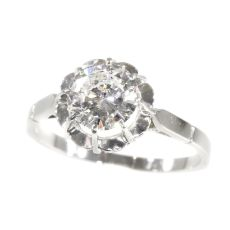 Vintage 1950`s brilliant engagement ring with certified D colour diamond by Unknown