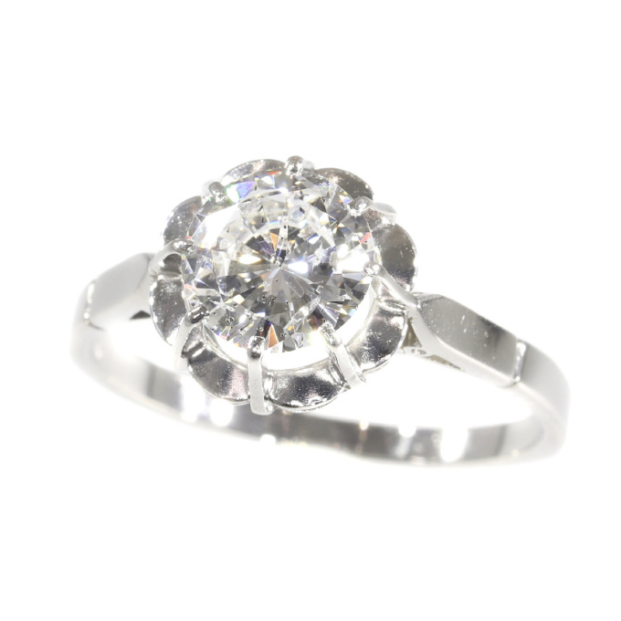 Vintage 1950`s brilliant engagement ring with certified D colour diamond by Unknown Artist