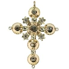 Antique Belgian Georgian gold cross pendant with old table cut rose cut diamonds by Unknown Artist