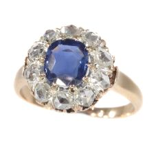 Victorian antique engagement ring with natural sapphire and ten rose cut diamonds by Unknown Artist