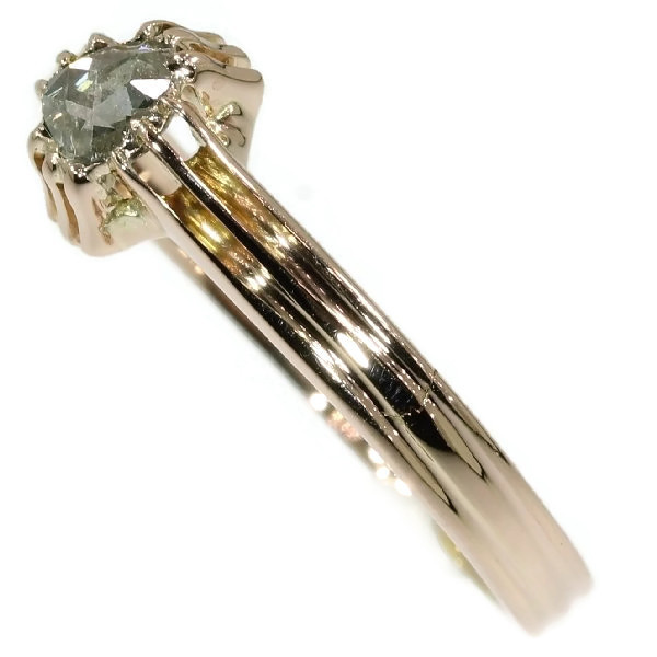 One stone foil set diamond mans ring by Unknown Artist