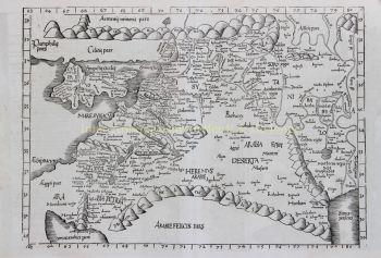 Middle East after Claudius Ptolomeus by  Laurent Fries/ Johannes Grüninger