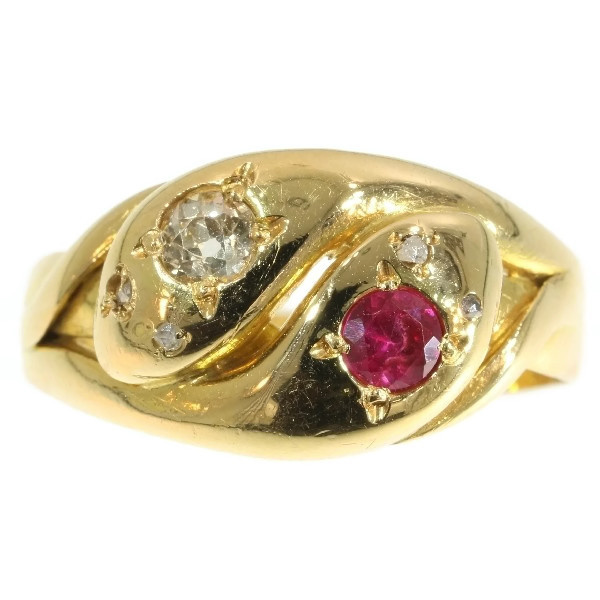 Victorian antique ring two intertwined snakes with ruby and diamonds by Unknown