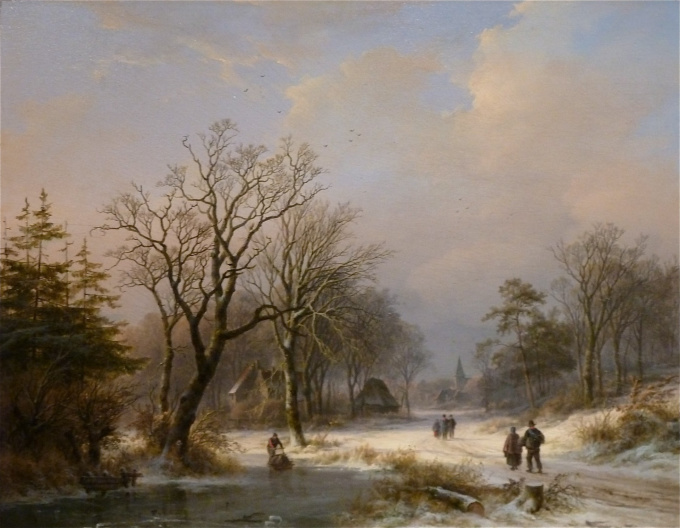 Winter Landscape with Frozen River and Figures by Johann B. Klombeck