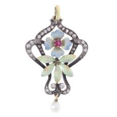 Austria-Hungarian late Victorian early Art Nouveau diamond and enamel pendant by Unknown Artist