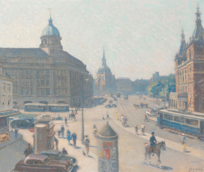 The Leidseplein, Amsterdam by Anthonie Pieter Schotel