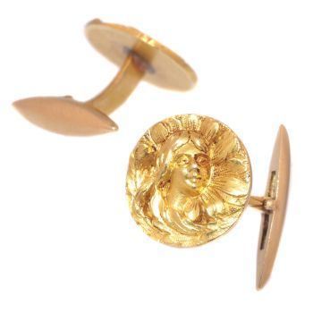 Art Nouveau 18K yellow gold cuff links by Unknown Artist