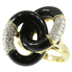 Typical Seventies ring with onyx and diamonds by Unknown Artist