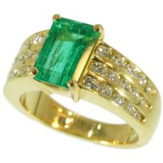 Estate diamond top notch emerald engagement ring by Kutchinsky by Unknown Artist