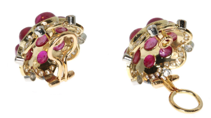 Estate Vintage ruby and diamond earrings with over 14 crt of untreated rubies by Unknown Artist