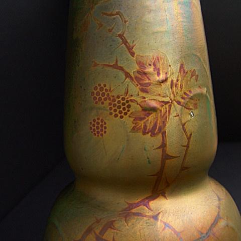 Gold coloured large art nouveau vase  by Clement Massier