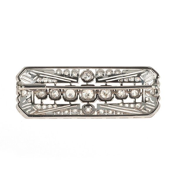 Art Deco brooch with diamonds by Unknown Artist