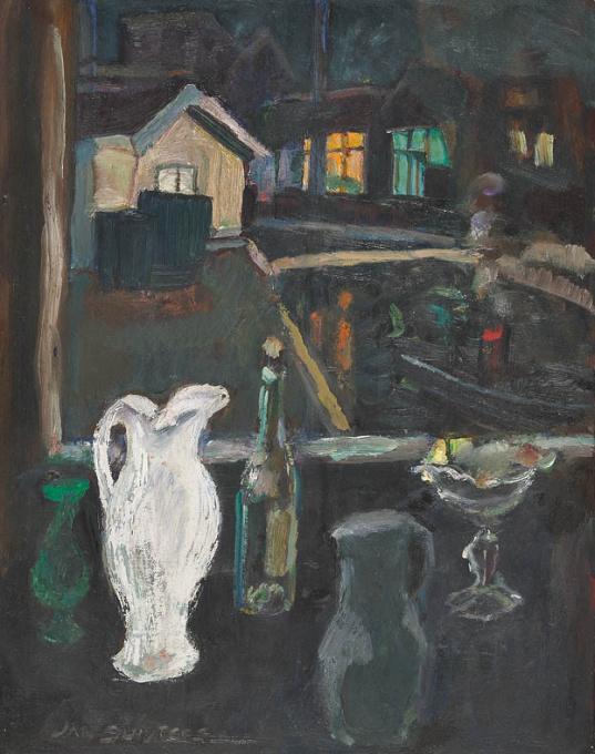 Stilleven bij avond met zicht op de Schinkel by Jan Sluijters
