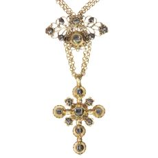 18th Century gold and diamond cross on necklace with table rose cut diamonds by Unknown