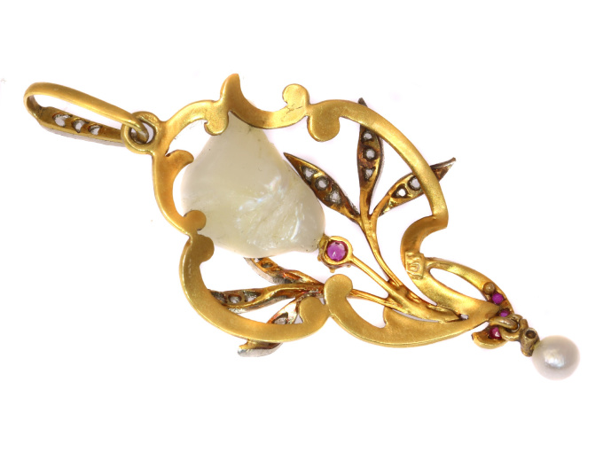 French Art Nouveau pendant with big Mississippi dog tooth pearl diamonds rubies by Unknown Artist