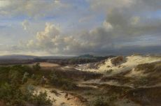 A painter at work in a hilly landscape by Pieter Lodewijk Francisco  & Springer Kluyver