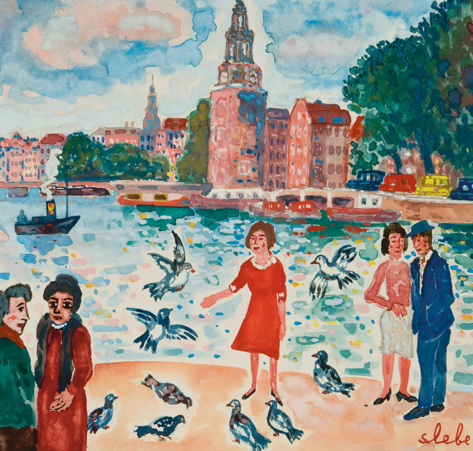 Feeding the pigeons by Ferdinand Joseph (Ferry) Slebe