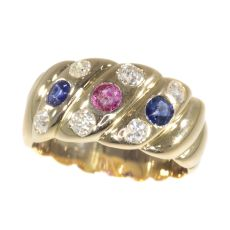 Antique 18K gold Victorian diamond sapphire and ruby ring by Unknown Artist