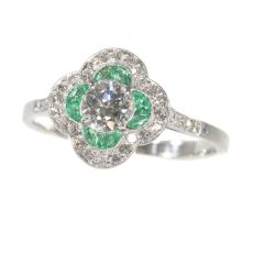 Art Deco diamond and emerald engagement ring by Unknown Artist