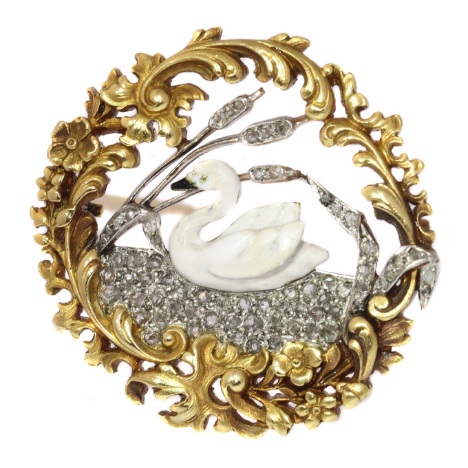 Late Victorian, early Art Nouveau French brooch enameled swan on diamond lake by Unknown