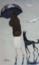 'Woman with a dog walking on the beach' by Kees van Dongen