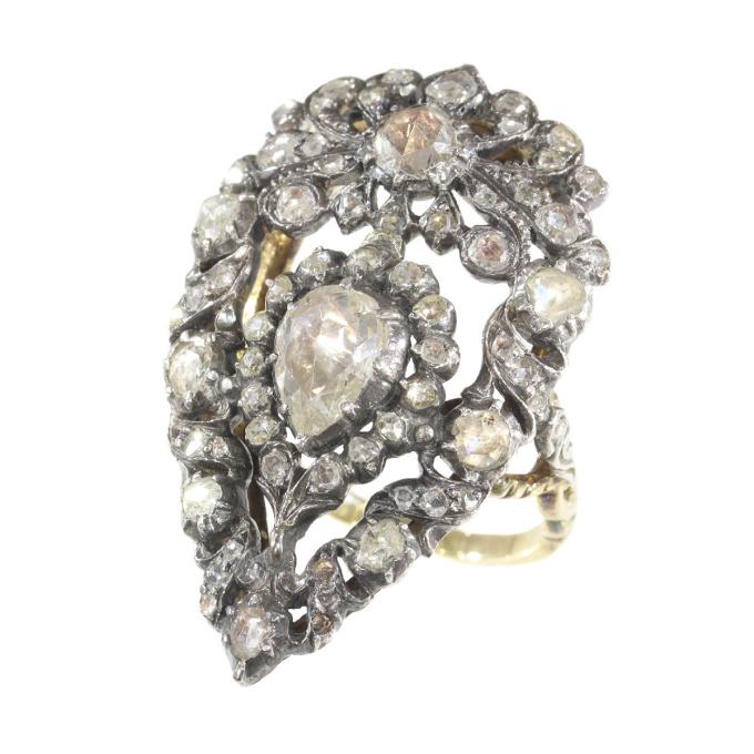 Impressive Victorian rose cut diamond ring by Unknown Artist