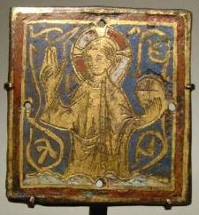 A Gothic champlevé enamel plaque of Christ  by Unknown Artist