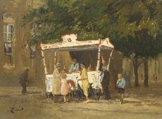 Ice cream truck at the Melkmarkt, Zwolle by Arie Zwart