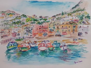 Boats in the harbor Marina Grande, Capri, Bay of Naples by Iam Anna