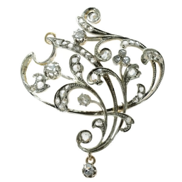 Art Nouveau brooch and pendant in gold with rose cut diamonds by Unknown Artist