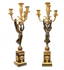 A Pair of French Empire four-light candelabra