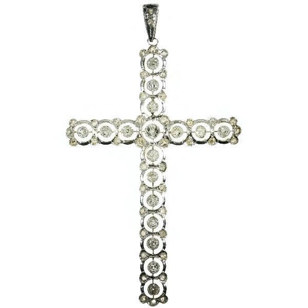 Belle Epoque antique diamond cross pendant by Unknown Artist
