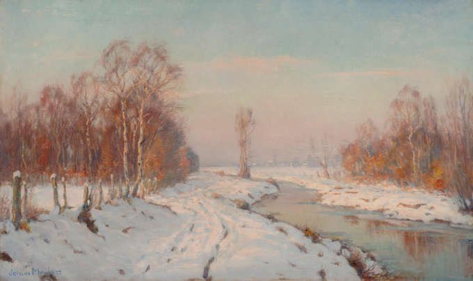 A winter landscape I by Johan Meijer