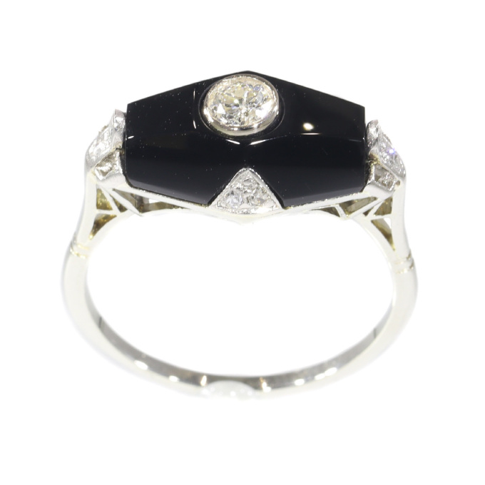 Art Deco diamond and onyx ring by Unknown Artist