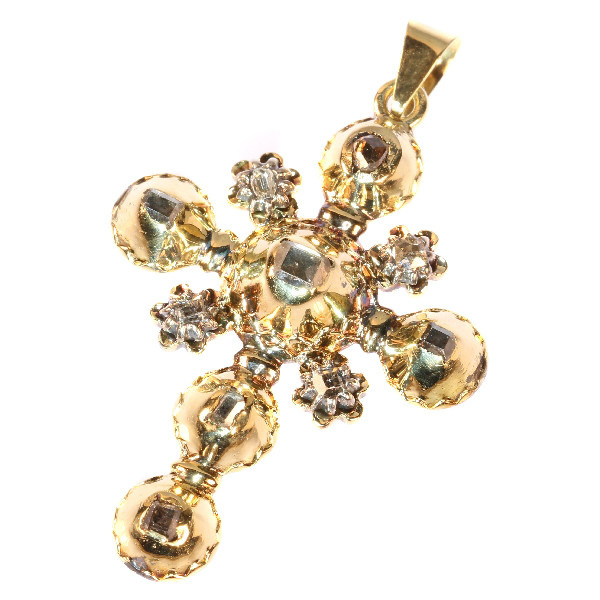 18th Century Antique gold cross table cut rose cut diamonds set by Unknown